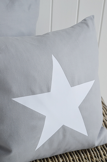 New Hamptons Grey White Cushion Star