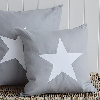 New Hamptons Grey Cushion White Star With Feather Inner