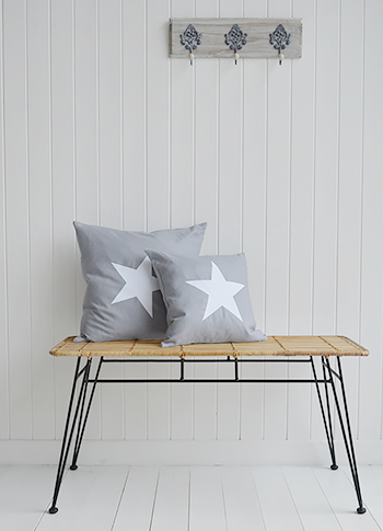 New Hamptons Grey White Cushion on Bench