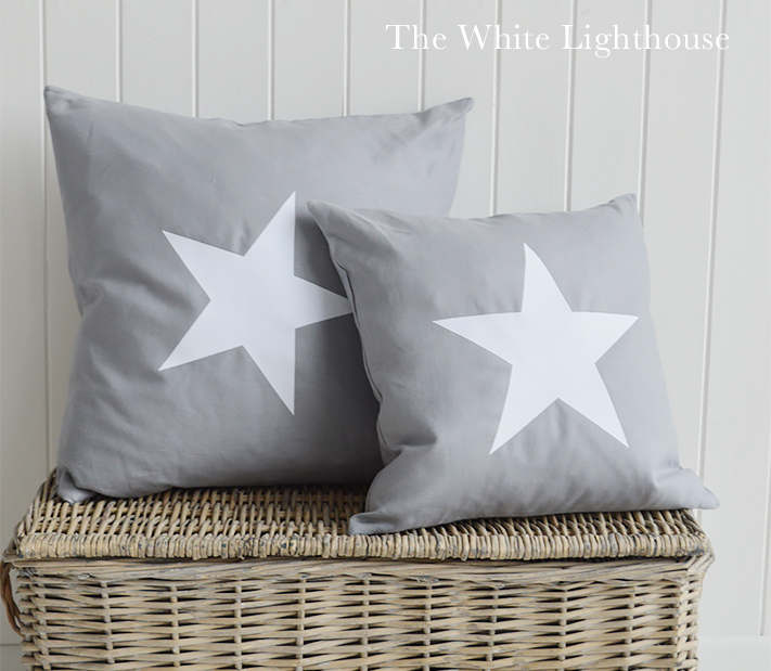 New Hamptons Grey White Cushion form The White Lighthouse New England furniture