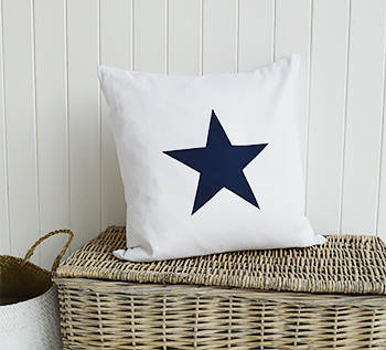 White and Navy Star Cushion