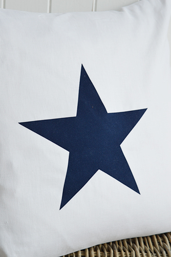 New Hamptons large white and navy blue cushion with star