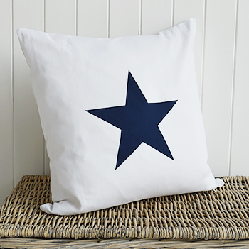 New Hamptons large white and navy blue cushion