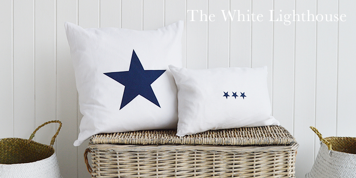 Navu and white star cushions