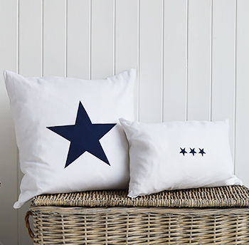 White and navy blue cushions
