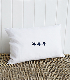 Newhamptons linen cushion in white and navy stars from The White Lighthouse furniture for New England, country and coast home interiors. Hallway, Living room, bedroom and bathroom - triple stars