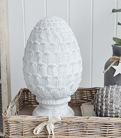 Grey standing fir cone from The White Lighthouse country, coastal and New England furniture