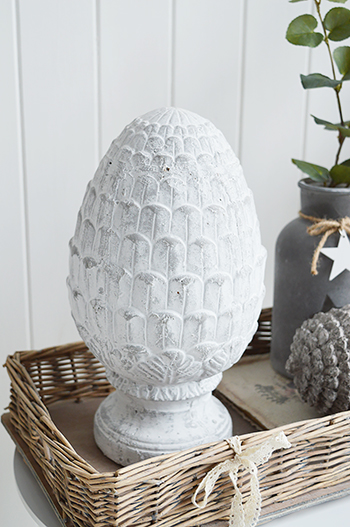 Grey standing fir cone from The White Lighthouse country, coastal and New England furniture with other home decor pieces
