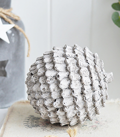 Small grey fir cone decorative for New England, country and for coastal interiors