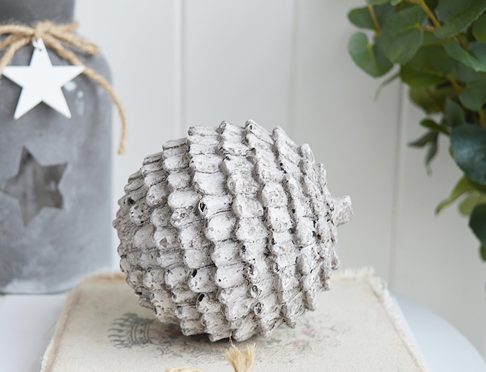Small decorative fir cone , for decorating coastal, country and New England home interiors
