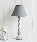 Grey table  lamp with wooden twist base