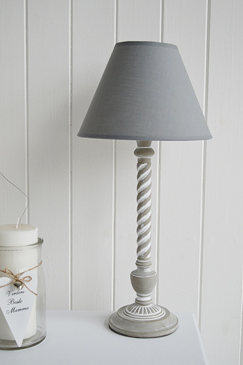 Grey wooden twist table lamp - The White Lighthouse