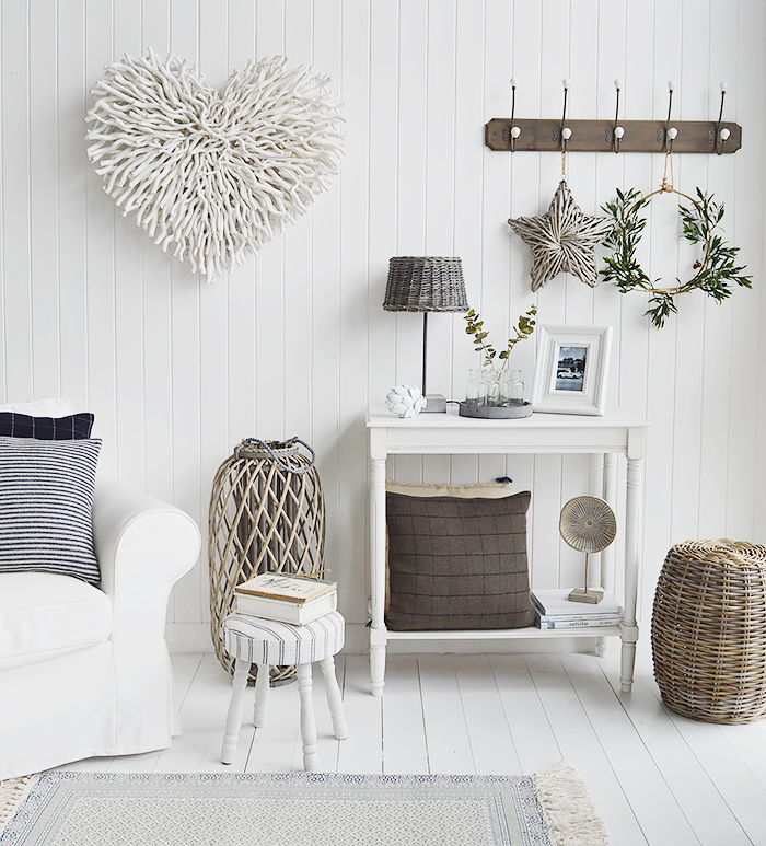 White Chunky Twig Heart on living room wall from The White Lighthouse Coastal, Country, New England Furniture and Home Decor Interiors