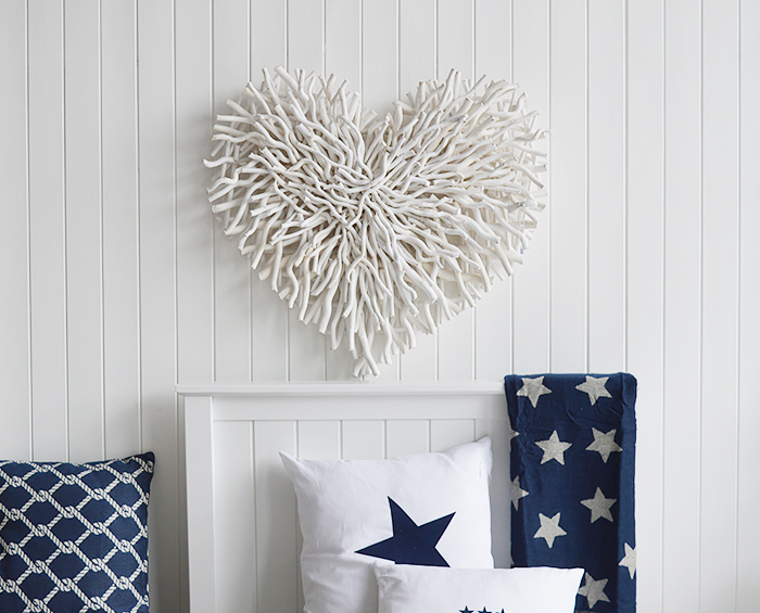 White Chunky Twig Heart on bedroom wall from The White Lighthouse Coastal, Country, New England Furniture and Home Decor Interiors
