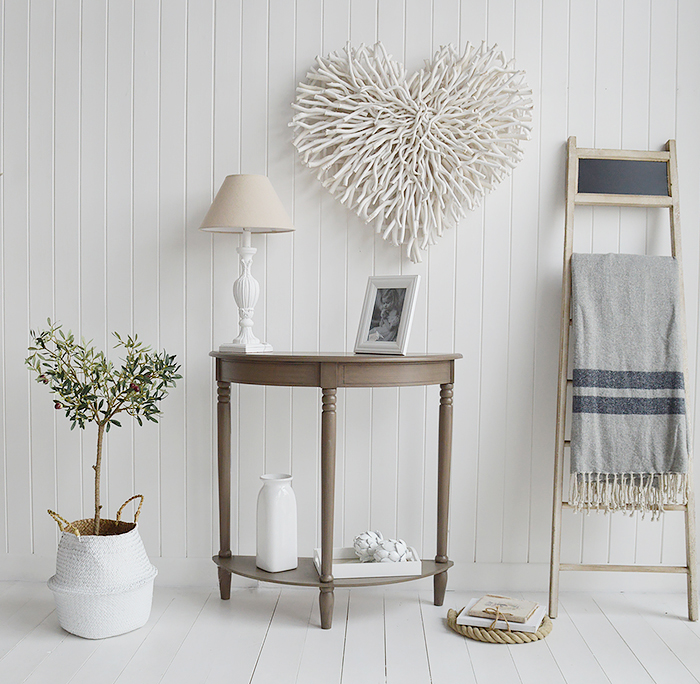 Large Chunky white twig heart above a console table