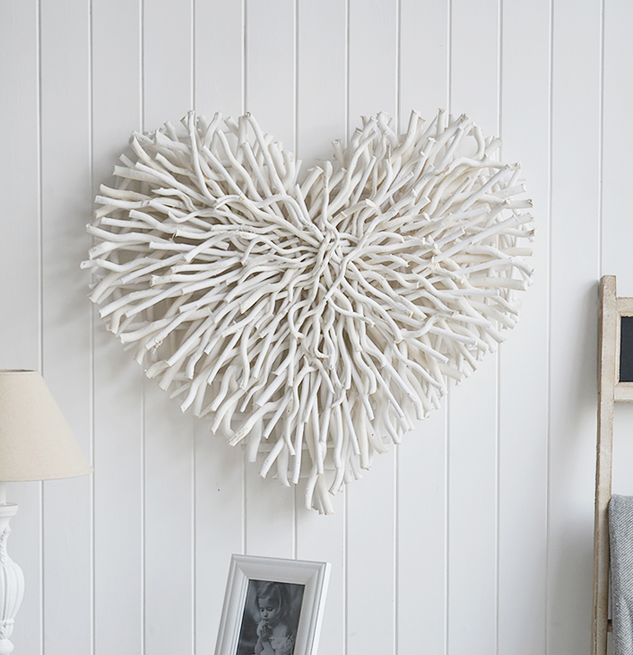 Large Chunky white twig heart from The White Lighthouse white furniture and interiors for the hallway, living room, bedroom and bathroom. New England Country and Coastal Interiors Design