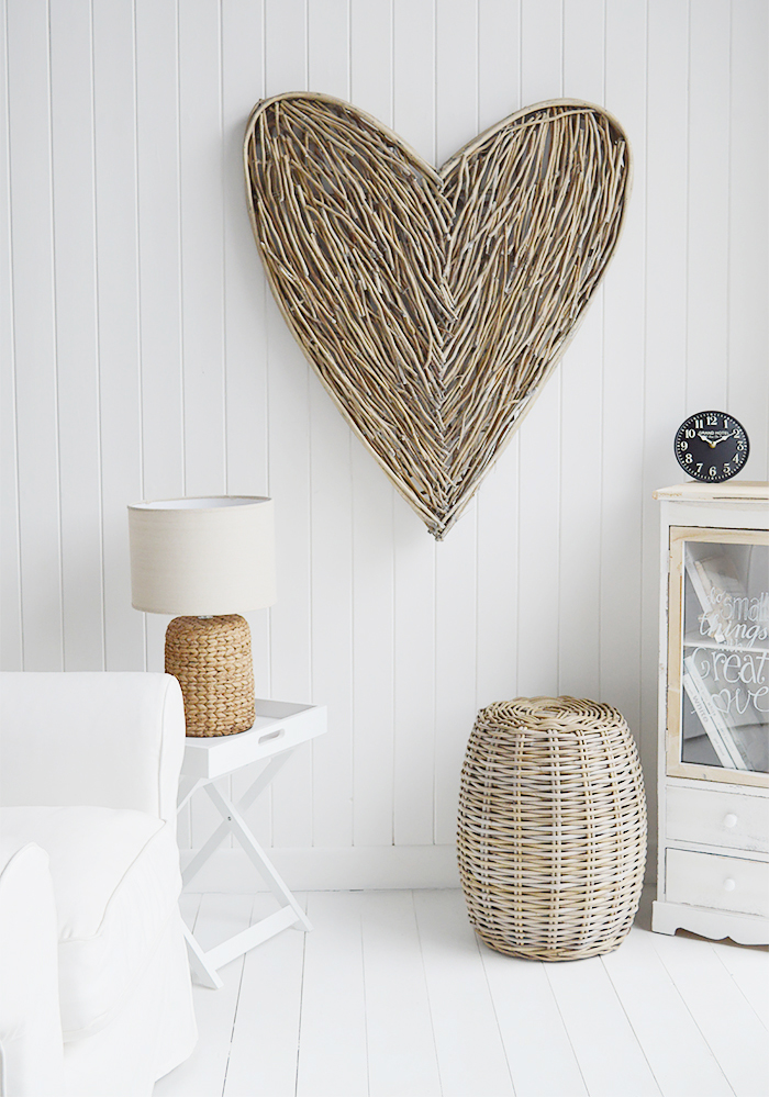 Extra large grey willow wall hanging heart from The White Lighthouse New England and Coastal white furniture for the hall, living room and bedroom