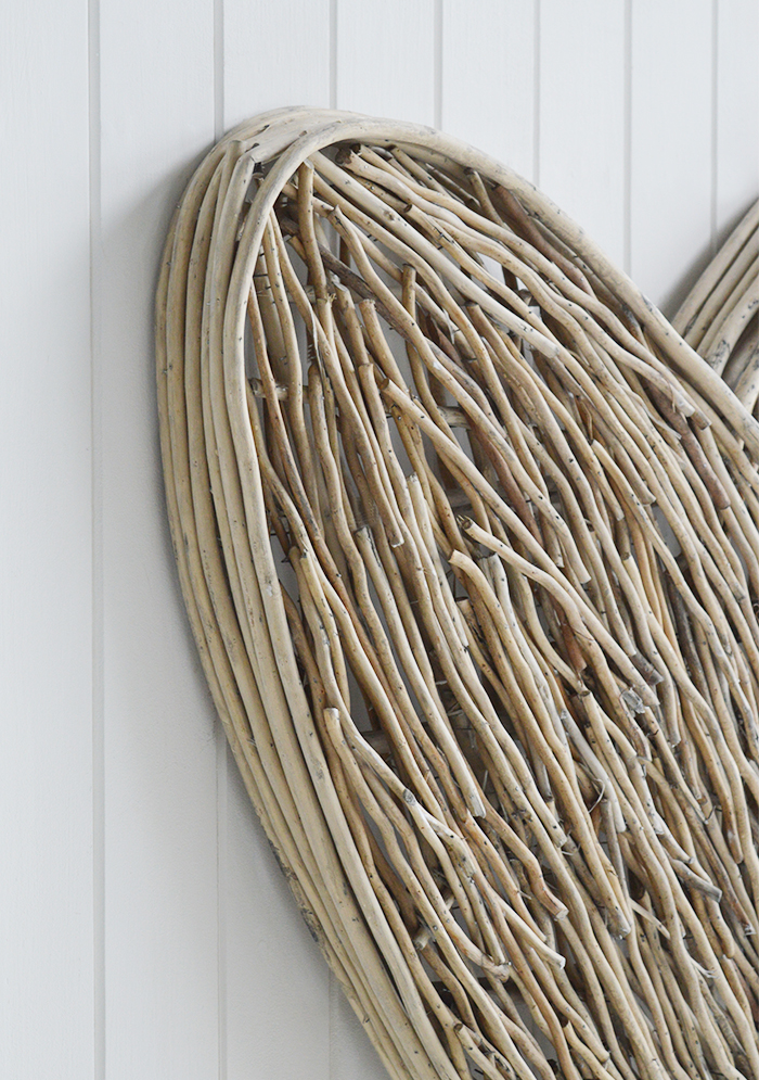 Extra large grey willow wall hanging heart close photograph from The White Lighthouse New England and Coastal white furniture for the hall, living room and bedroom