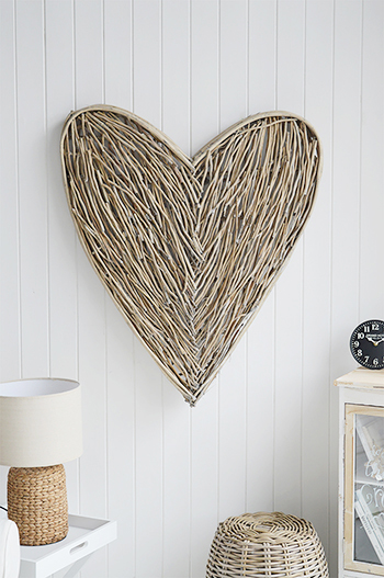 Large Grey Willow Heart Wreath Wall Decor