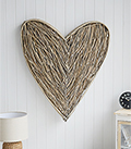 Large grey willow heart wall decor