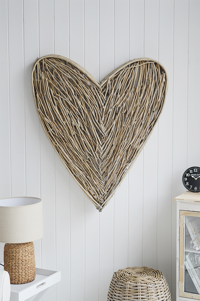 Extra large grey willow wall hanging heart for wall decor from The White Lighthouse Furniture