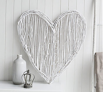 Large White Wiilow Heart wall decor for living room