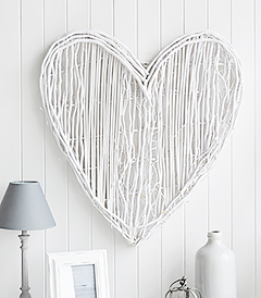 Large White Willow Heart Wreath from The White Lighthtouse New England, Country and Coastal Home Interiors and Furniture