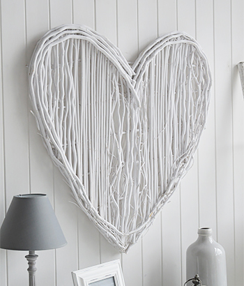 Large White Wiilow Heart wall decor for bedroom