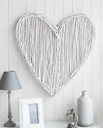 Large white willow Heart Wall Decor