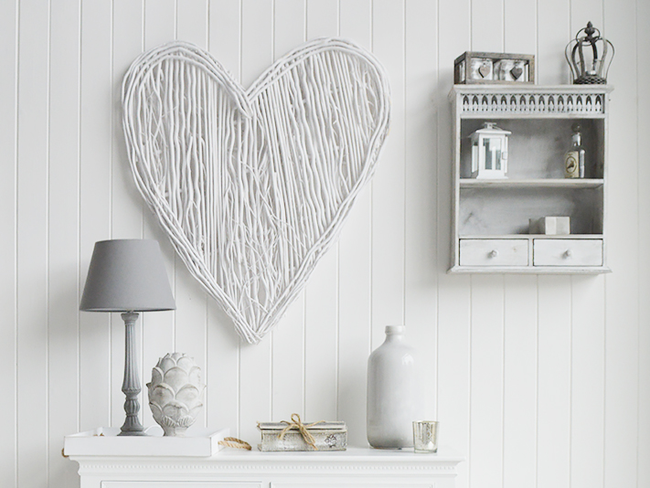 Large White Willow Heart Wreath Wall Decor Cottage