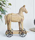 Horse on wheels for coastal, country and New England home furniture interiors