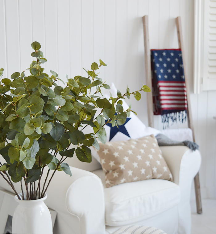 New England Home Decor accessories for both country and coastal styles of home interiors. Artificial Eucalyptus stems