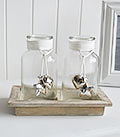 Set of glass jars with stars hearts