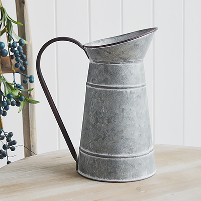 Metal Jug Pitcher Vasefrom The White Lighthouse coastal, New England and country furniture and home decor accessories UK
