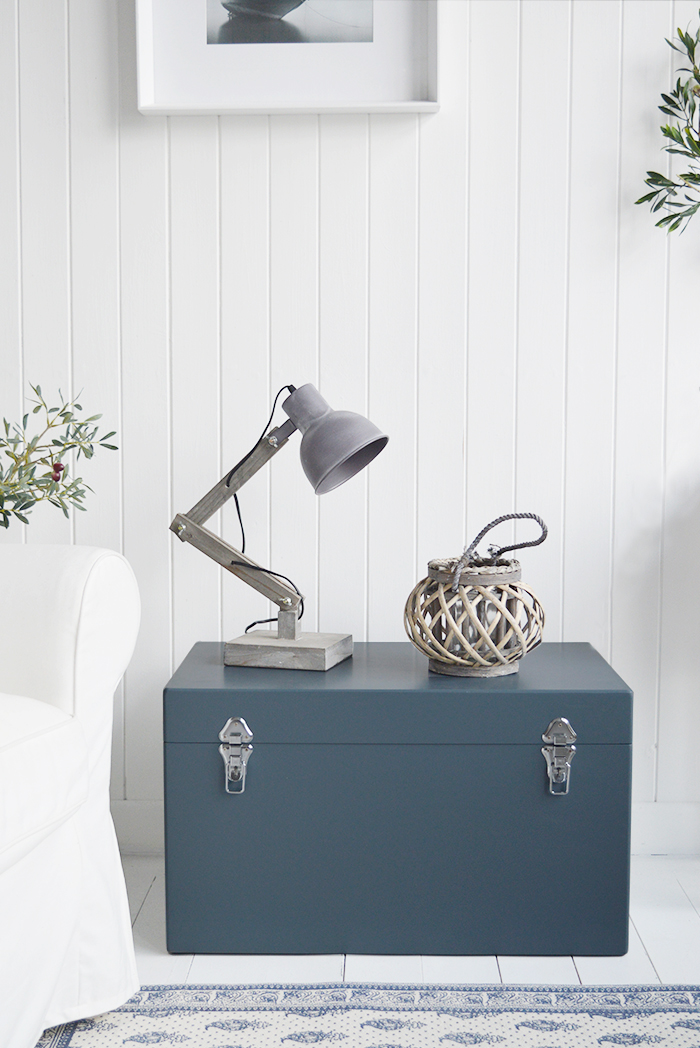 Brentwood Angled Grey Desk Table Lamp from The White Lighthouse for New England, Country, Coastal, City and White interiors for hallway, living room, bedroom furniture