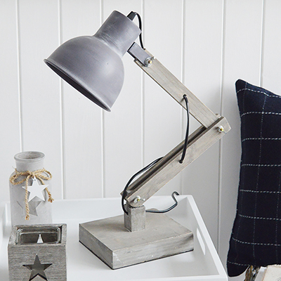 Brentwood wooden grey angles desk table lamp. New England and coastal styled table lamps