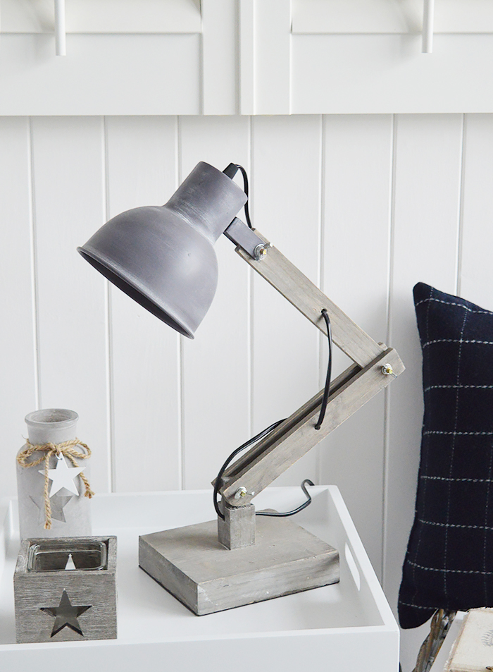 Brentwood Angled Desk Table Lamp from The White Lighthouse for New England, Country, Coastal, City and White interiors for hallway, living room, bedroom furniture