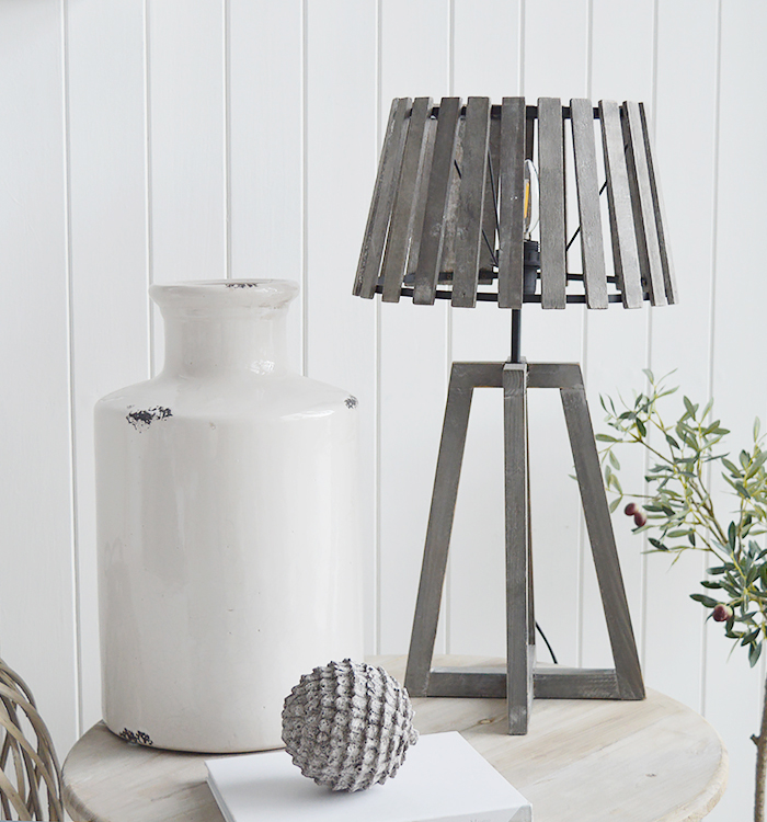 Brentwood Slatted Grey Desk Table Lamp from The White Lighthouse for New England, Country, Coastal, City and White interiors for hallway, living room, bedroom furniture