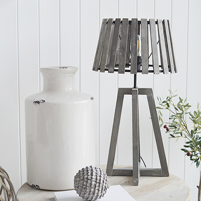 Brentwood grey slatted wooden coastal New England style table lamp