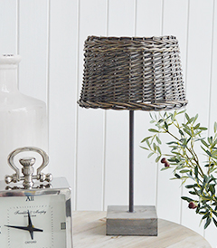 Brentwood Grey Willow Table Lamp from The White Lighthouse for New England, Country, Coastal, City and White interiors for hallway, living room, bedroom furniture