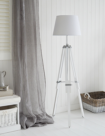 White Wooden Lexington Floor Lamp New England Furniture