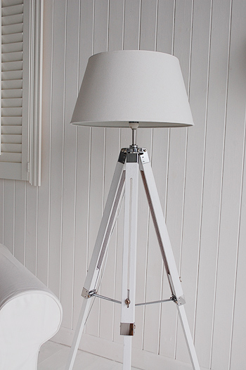 White Wooden Tripod Floor Lamp New England Furniture And