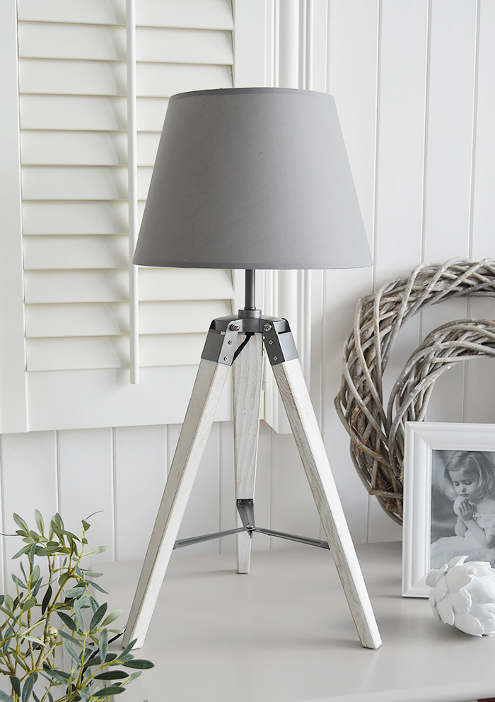 Seaport Grey and White tripod lamp table with a white washed wooden base for country and New England home interiors