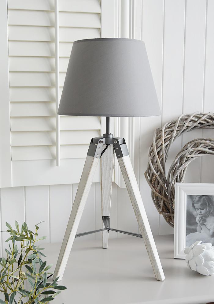 Seaport Grey White Tripod Table Lamp The White Lighthouse