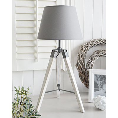 Seaport grey tripod table lamp . A gorgeous New England style lamp