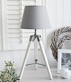 Seaport Grey and White tripod lampt table with a white washed wooden base. Perfecf for both country and coastl homes as well as with white furniture
