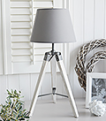 Seaport grey and white table lamp, ideal with white furniture for homes by the sea and in the country