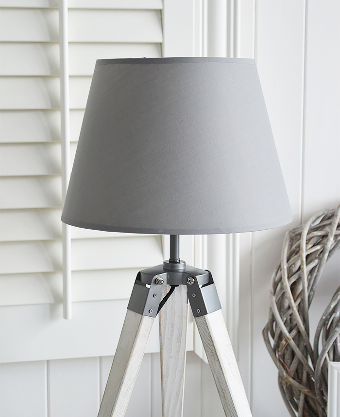 Seaport Grey and White tripod lampt table with a white washed wooden base. Perfect for New England coastal and country homes