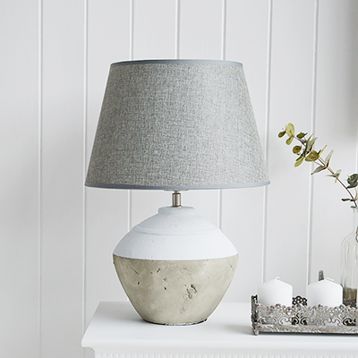 New England style lamps. Grey and white Stone lamp. Perfect  styling for a New England styled home in the living room, hallway or bedroom.