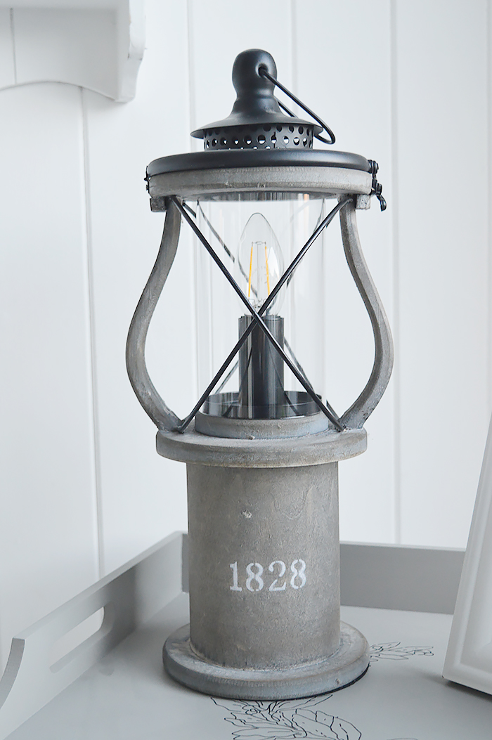 Lewiston Grey Vintage Lantern table lamp for New England coastal, city and country home interiors from The White Lighthouse Furniture for the hallway, living room, bedroom and bathroom